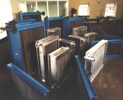 A selection of heat exchangers constructed from carbon steel and grade 304L stainless steel for use in various industrial drying and process heating installations